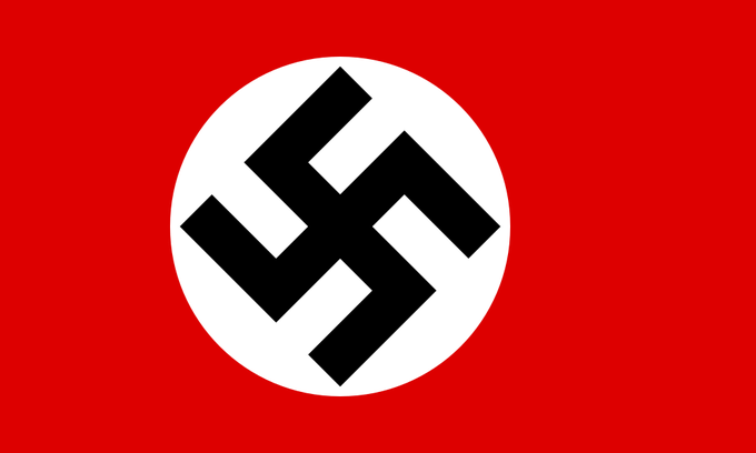 Image of the Nazi flag with a black swastika within a white circle surrounded by a red background