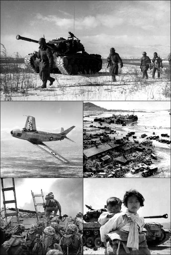 Clockwise from top: U.S. Marines retreating during the Battle of the Chosin Resevoir, U.N. landing at Incheon, Korean refugees in front of an American M-26 tank, U.S. Marines, led by First Lieutenant Baldomero Lopez, landing at Incheon, and an American F-86 Sabre fighter jet.