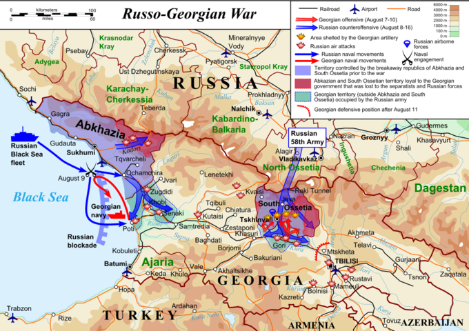 The map shows the Georgian offensive (August 7-10), the Russian counteroffensive (August 8-16), the area shelled by the Georgian artillery, Russian air attacks, Russian naval movements, Georgian naval movements, the territory controlled by the breakaway republics of Abkhazia and South Ossetia prior to the war, Georgian territory (outside Abkhazia and South Ossetia) occupied by the Russian army, and the Georgian defensive position after August 1.