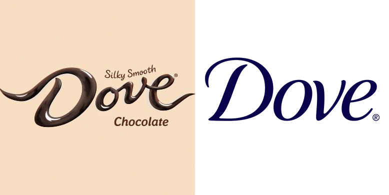 """Side-by-side comparison of the trademarked logo for Dove Chocolate and Dove Soap. Both Dove logos are script fonts that say the word Dove. The Dove chocolate logo appears to be written in melted chocolate and has the words """"Silky smooth chocolate"""" around the word Dove. The Dove soap logo is written in a crisp blue script font on a white background."""