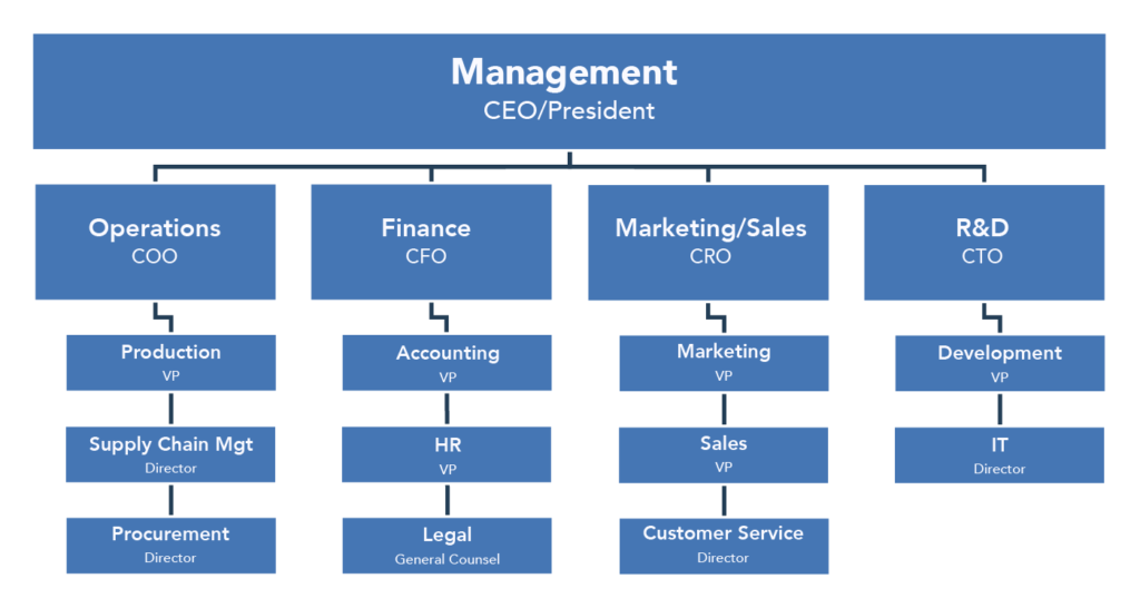 Organization chart showing the key people within functional areas of business. The first level is Management, represented by the CEO or President. The second level, underneath Management, includes Operations, Finance, Marketing/Sales, and Research and Development. Operations is represented by the COO. The level beneath Operations includes Production, Supply Chain Management, and Procurement; these areas are represented by the VP of Production, the Director of Supply Chain Management, and the Director of Procurement. Finance is represented by the CFO. The levels beneath Finance Accounting, Human Resources, and Legal; these areas are represented by the VP of Accounting, the VP of HR, and the General Counsel of Legal. Marketing/Sales is represented by the CRO. The levels beneath Marketing/Sales include Marketing, Sales, and Customer Service; these areas are represented by the VP of Marketing, the VP of Sales, and the Director of Customer Service. Finally, R&D is represented by the CTO. The levels beneath R&D include Development and IT; these areas are represented by the VP of Development and the Director of IT.
