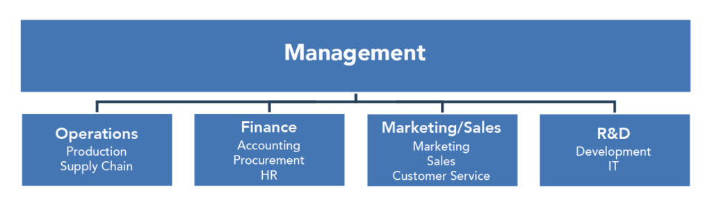 Organization chart of the functional areas of business. Management is the first level. Underneath management are the following four categories: Operations (Production and Supply Chain), Finance (Accounting, Procurement, and HR), Marketing/Sales (Marketing, Sales, and Customer Service), and R&D (Development IT).