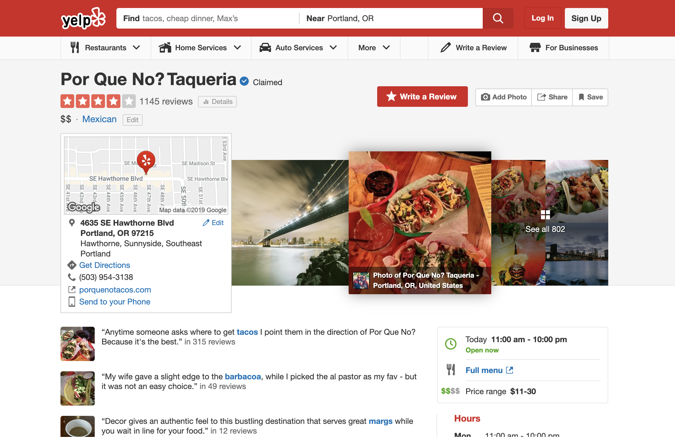 Yelp page for Por Que No?, a taqueria, with highlights of customer reviews.