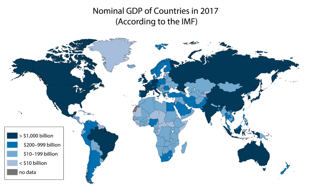 Countries by nominal GDP in 2017 according to the IMF. A complete set of the 2017 IMF data can be downloaded from this page as an excel file. Countries are sorted into five categories. The highest category is countries with a nominal GDP of over 1,000 billion USD. This category includes the United States, Canada, Mexico, Russia, Australia, Brazil, Spain, France, the United Kingdom, and others. The second category is countries with a nominal GDP between 200 and 999 billion USD. This category includes Peru, Argentina, Egypt, Norway, Saudi Arabia, Thailand, and others. The third category is countries with a nominal GDP between 10 and 199 billion USD. This category includes Paraguay, Mongolia, Ukraine, Nepal, and others. The fourth category is countries with a nominal GDP under 10 billion USD. This category includes Greenland, Mauritania, Kyrgyzstan, Suriname, and others. The fifth and final category is countries where no GDP data was found. This category includes the Western Sahara.