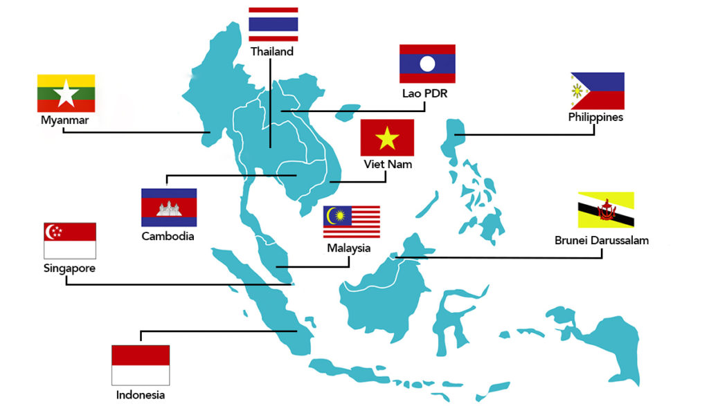Map of ASEAN Countries. Countries include Lao PDR, Thailand, Myanmar, Viet Nam, Cambodia, Philippines, Brunei Darussalam, Malaysia, Singapore, and Indonesia
