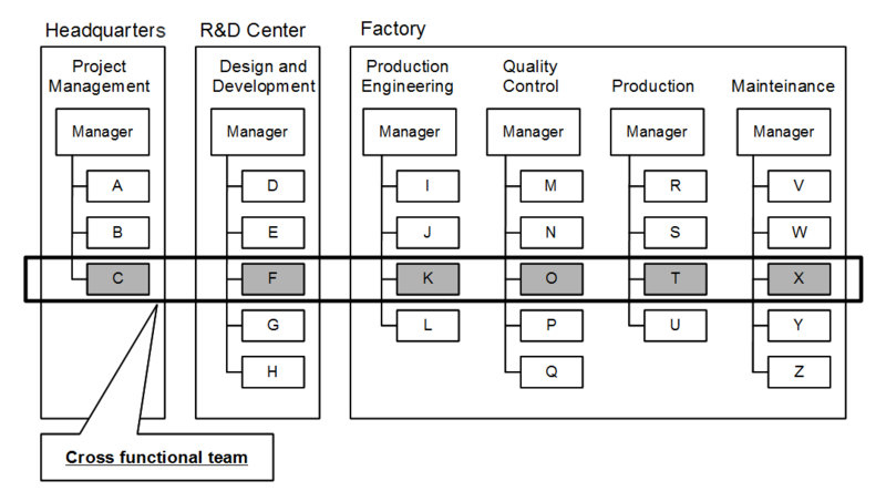 Infographic showing cross-functional teams. There are six teams with multiple members. These teams are as follows: Project Management, Design and Development, Production Engineering, Quality Control, Production, and Maintenance. A cross-functional team includes one member from each of the aforementioned teams.