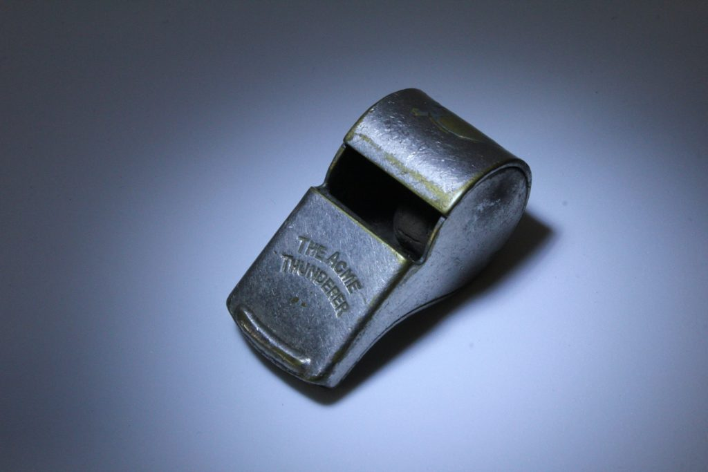 a metal whistle