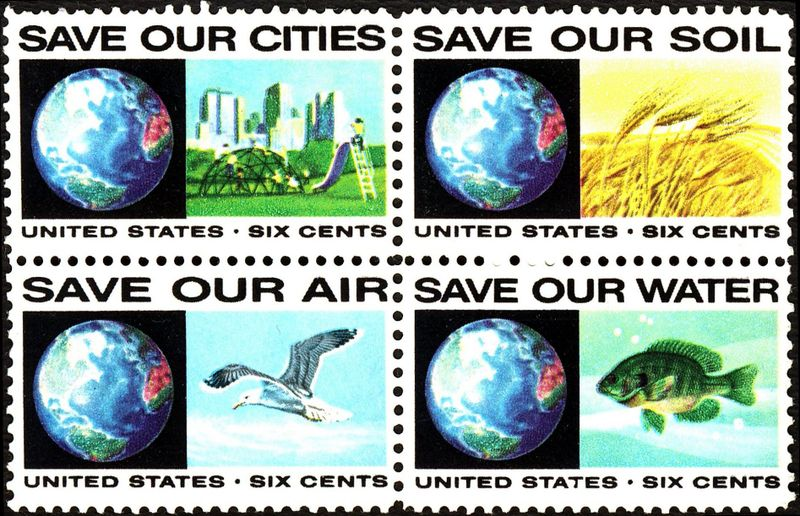 """1970s US postage stamp block. Reads """"Save Our Cities""""; """"Save Our Soil""""; """"Save Our Air""""; """"Save Our Water"""""""