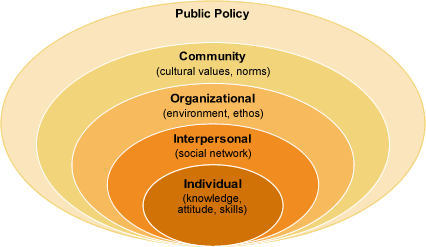 Image of gradually enlarging circles labeled Individual, Interpersonal, Organizational, Community, and Public Policy, respectively.