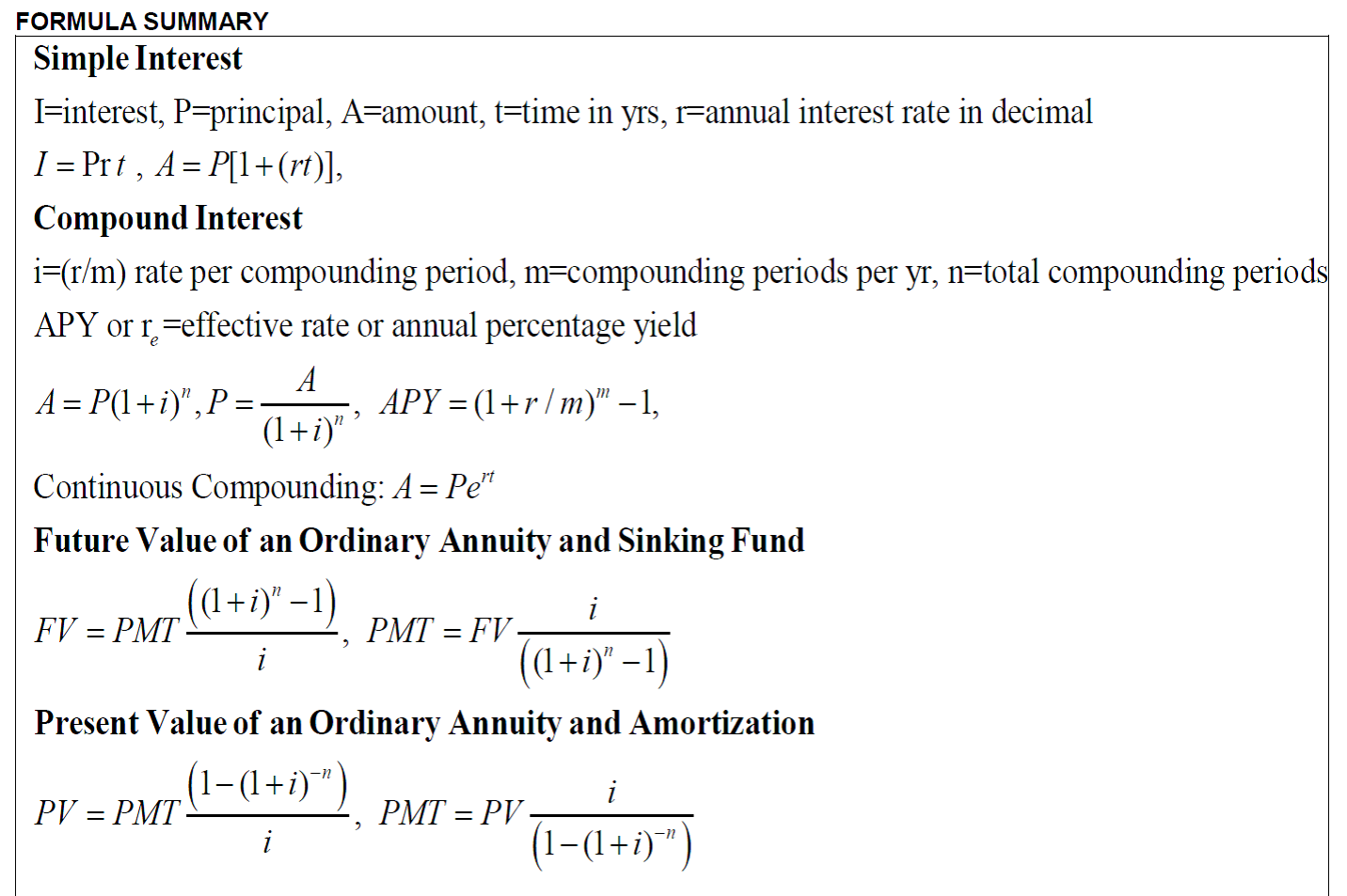 interest formulas
