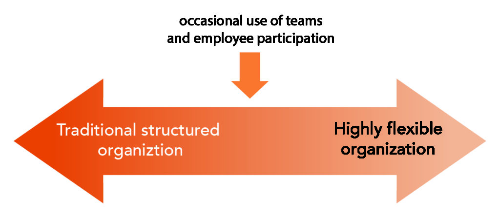 An arrow indicating that there is a spectrum between traditional structured organizations and highly flexible organizations. There is a second arrow indicating that the occasional use of teams and employee participation falls in the center of this spectrum.