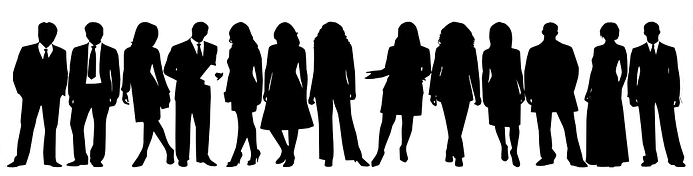Silhouettes of several people standing in a line, all wearing business attire.
