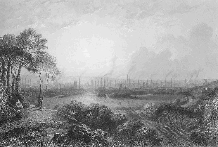 Engraving of Manchester England during the industrial revolution. The sky is filled with smoke and pollution coming from several buildings.