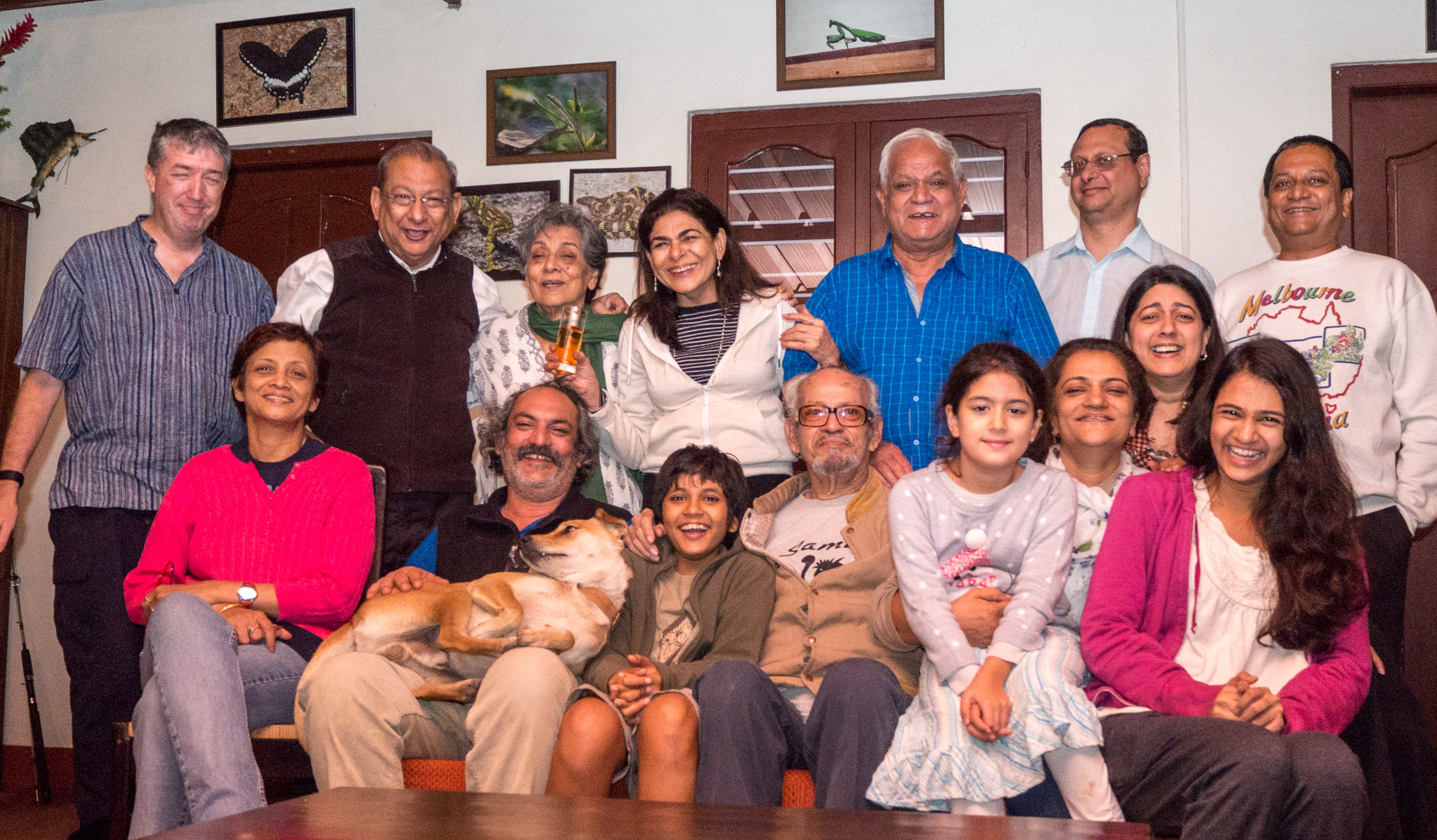 Four generations of S P Chaube's offspring. Photo includes individuals ranging in age from approximately 10 year old to approximately 90.