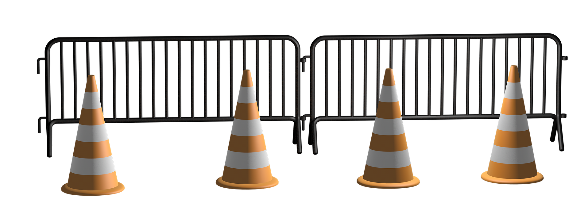 A metal barrier fence with four orange cones in front of it.