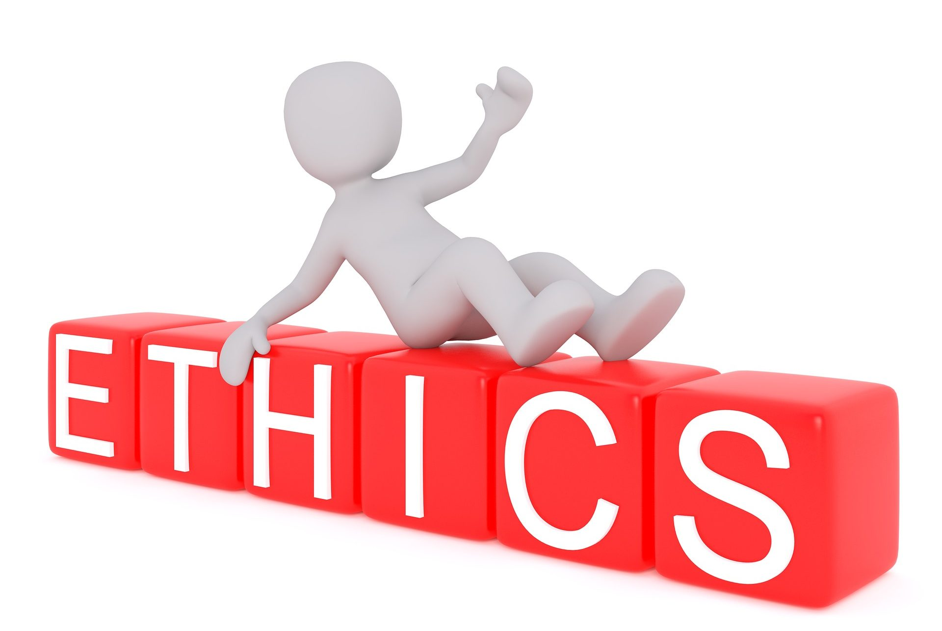 Icon of a person sitting on top of the word ethics. They are giving a thumbs up approvingly.