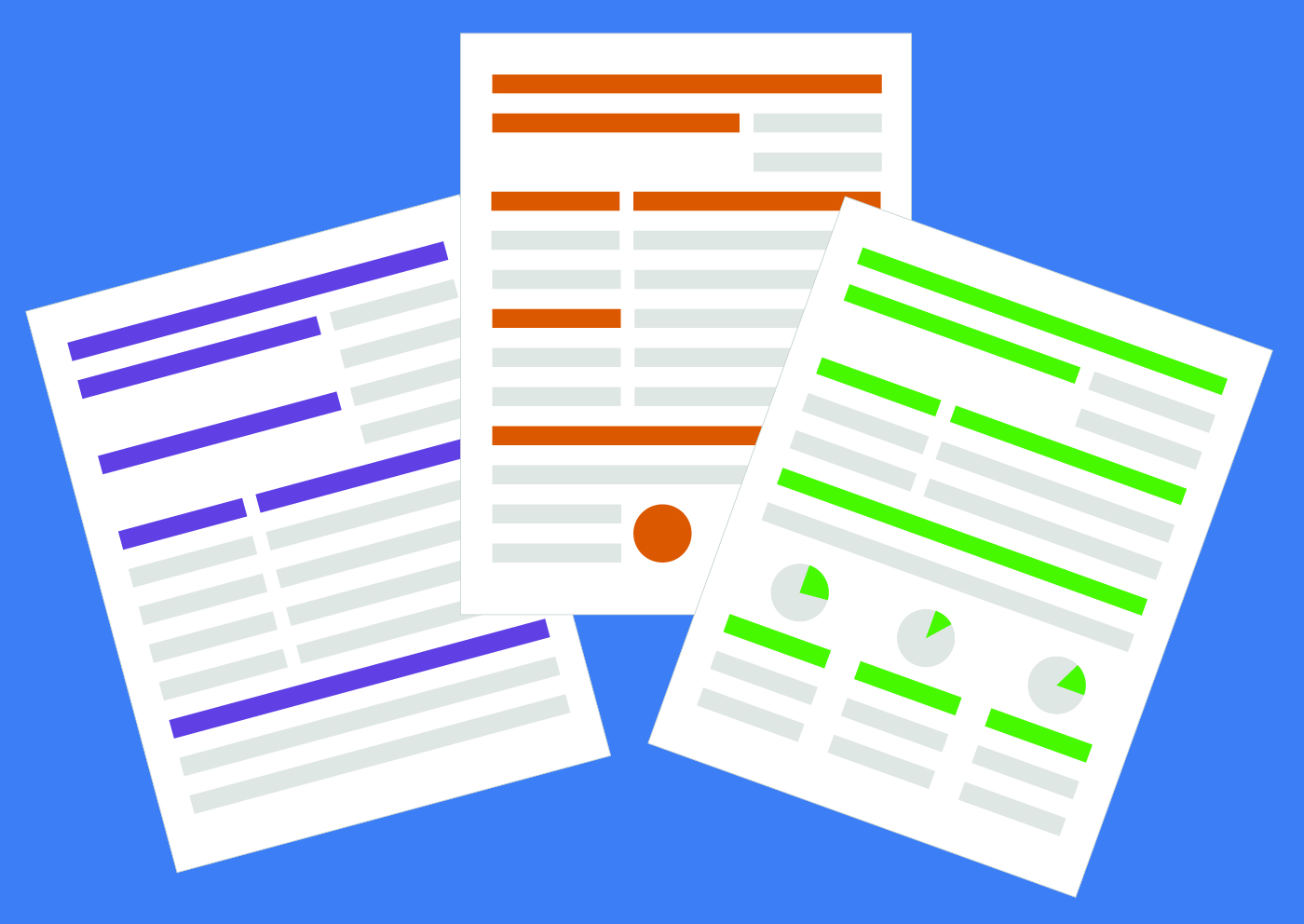 Image rendering of three resumes. The resumes have no text, only colored bars indicating where text would be