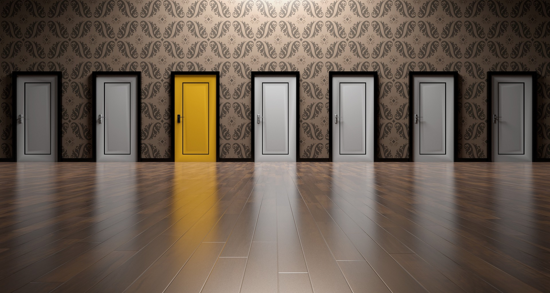Photograph of a hallway lined with doors. One door is bright yellow while the others are white.
