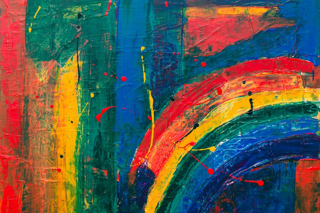 An abstract rainbow painting.
