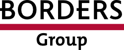 Borders Group logo, which has the name of the group in simple black letters with a horizontal red line in between the words.