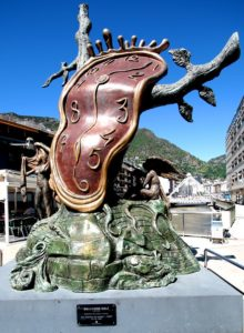 Statue of a melted stopwatch by Salvador Dali