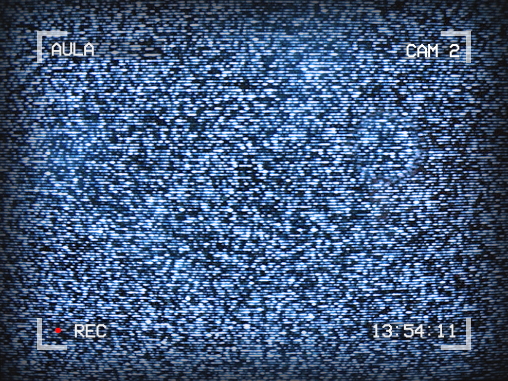 Image of TV static. Text around the outside reads: Aula, Cam 2, 13:54:11, with a red dot for recording.