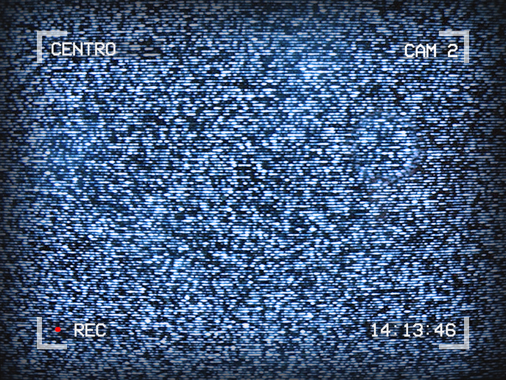 Image of TV static. Text around the outside of the image reads: Centro, Cam 2, 14:13:46, Recording