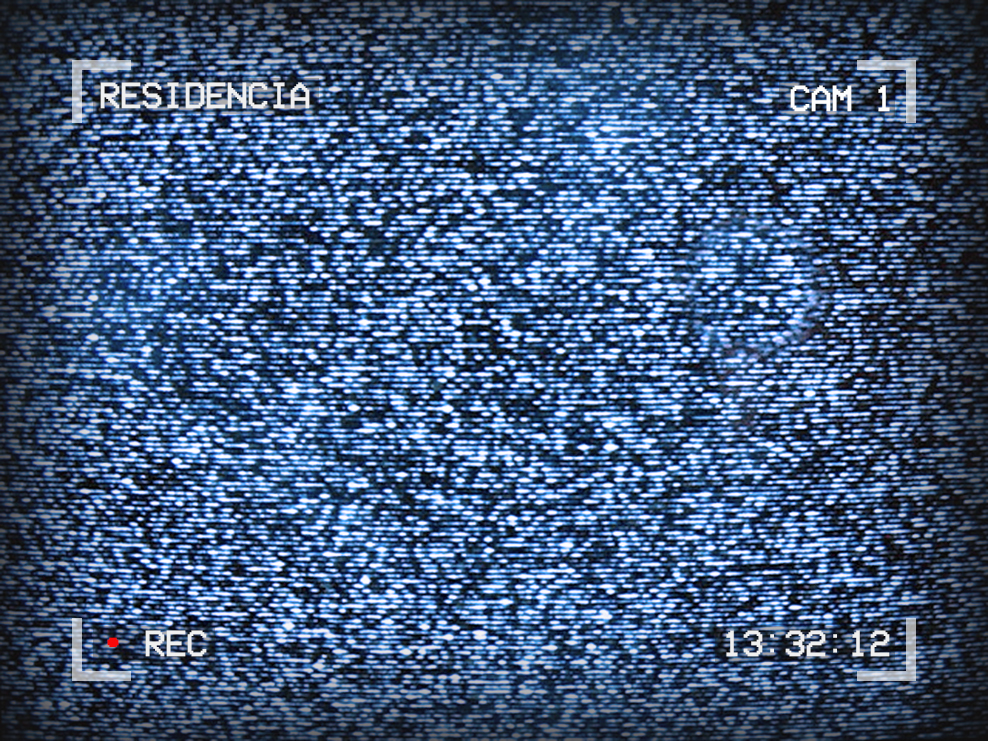 Image of TV static. Text around the outside reads: Residencia, Cam 1, 13:32:12, Recording
