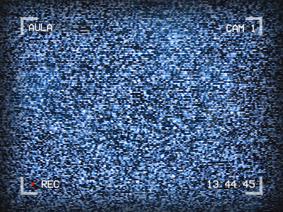 Image of TV static. Text around the outside reads: Aula, Cam 1, 13:44:45, Recording