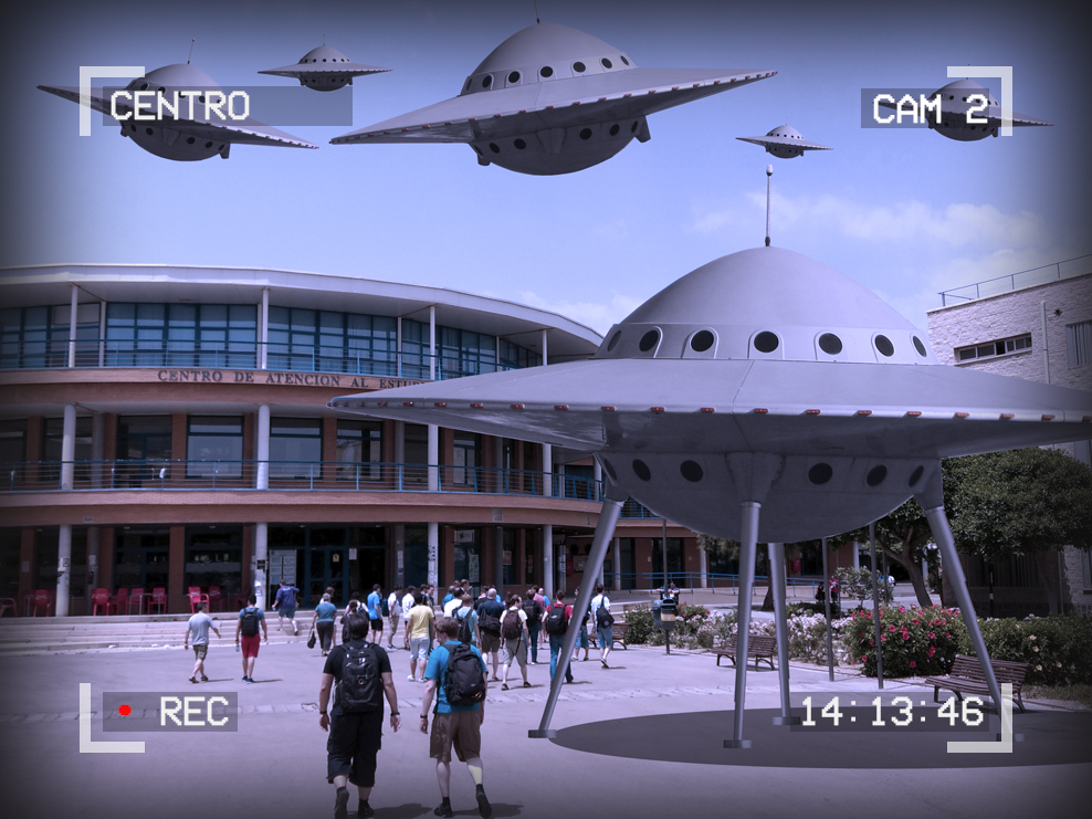 Image students outside a building marked Centro de Atencio al Estudiante. A fleet of flying saucers are landing. Text around the outside of the image reads: Centro, Cam 2, 14:13:46, Recording