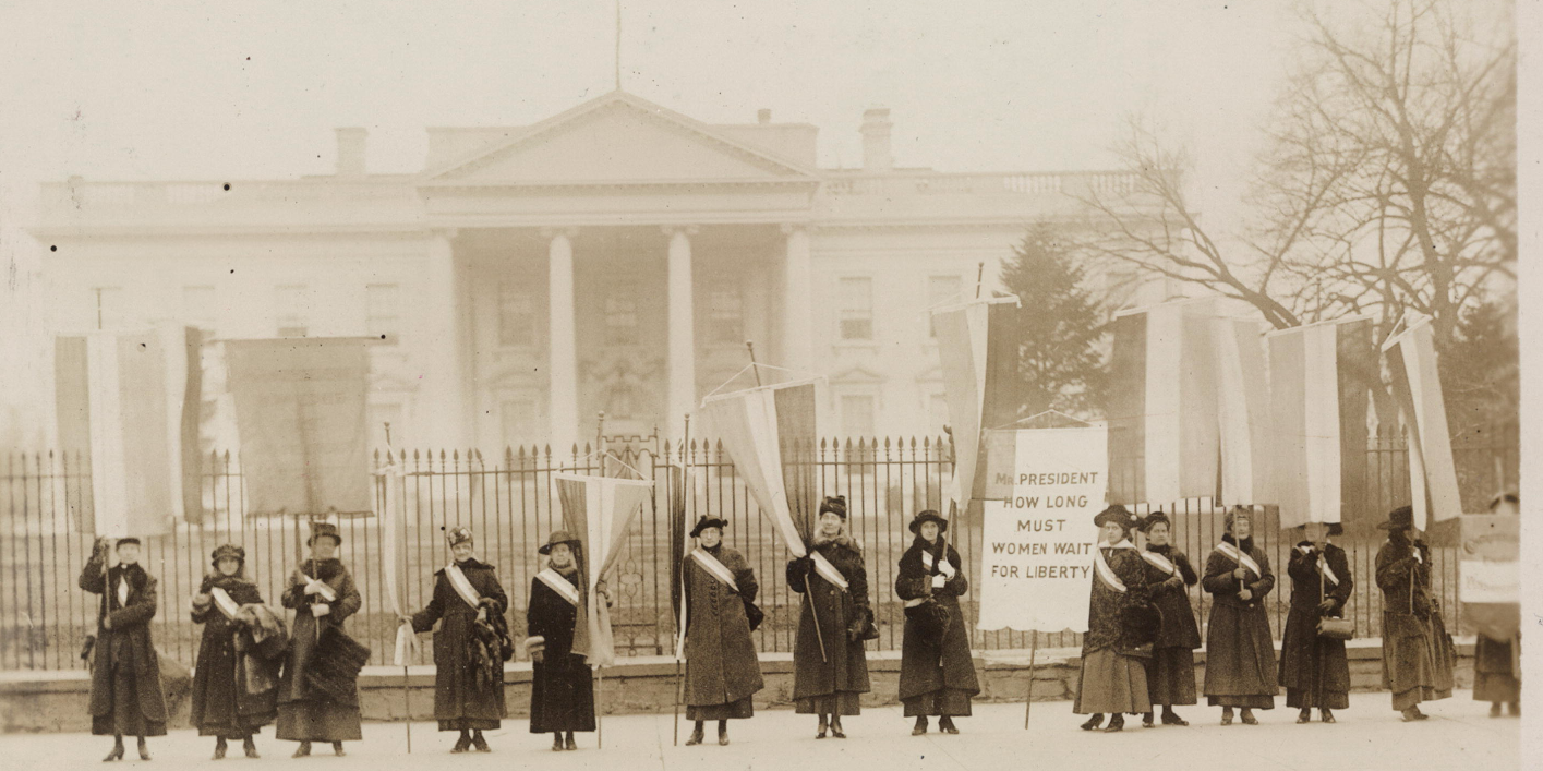 Picket line in 1917 for women's suffrage (vote) from the National Woman's Party Records with the Library of Congress (photography by Harris & Ewing, Washington, D.C.; Library of Congress Collection)
