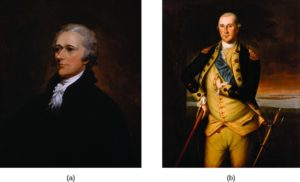 Image A is a painting of Alexander Hamilton. Image B is a painting of George Washington.