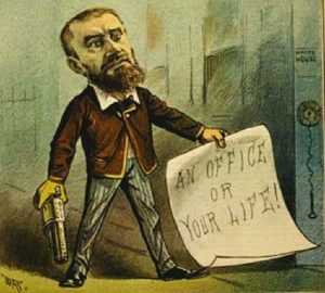 A cartoon of Charles J. Guiteau holding a pistol and a piece of paper that says