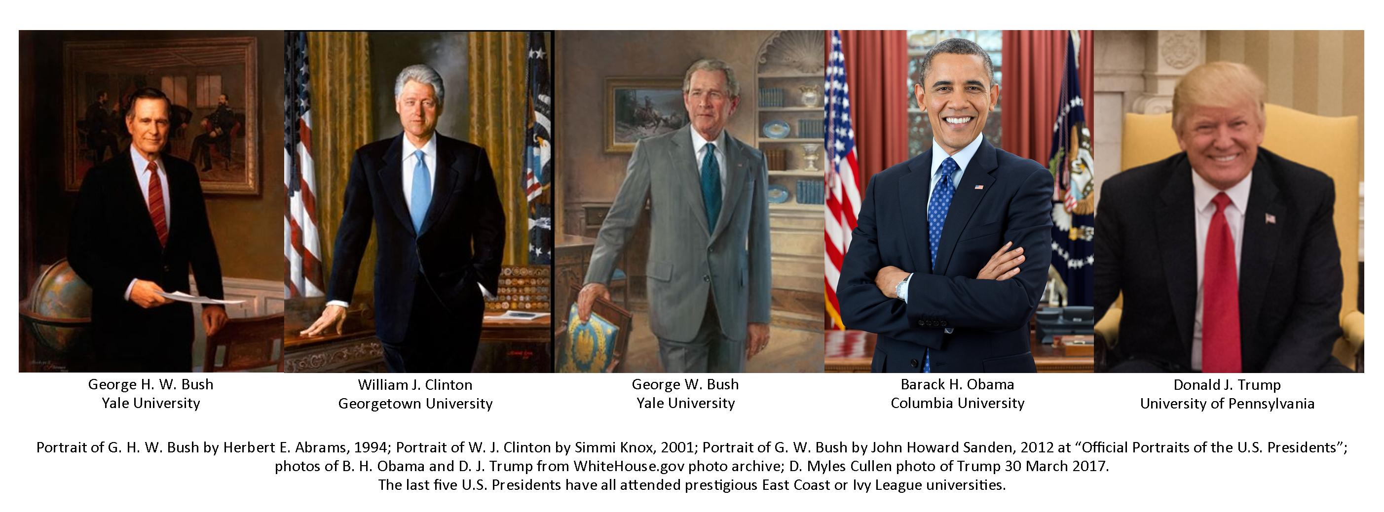 Formal presidential portraits of G.H.W. Bush, W.J. Clinton, G.W. Bush, B.H. Obama, and D.J. Trump.