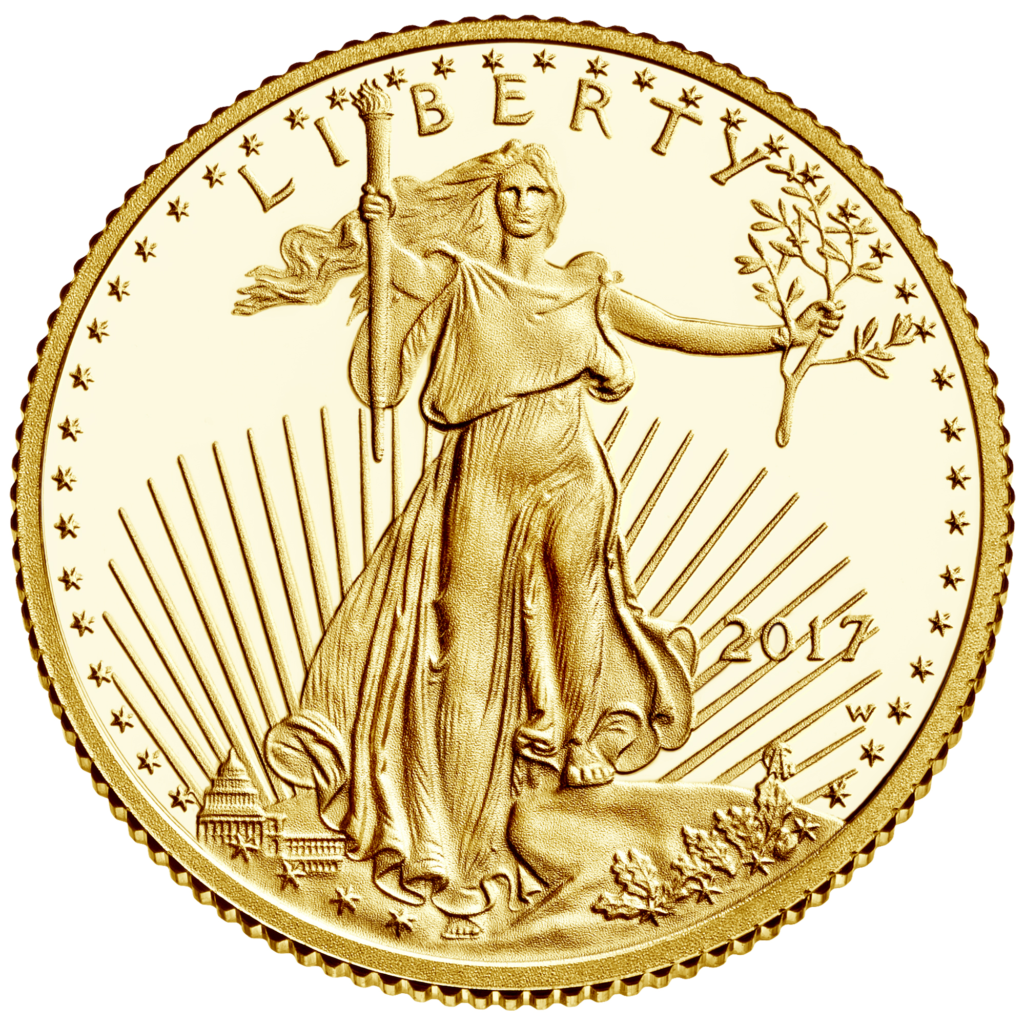 Photo of gold liberty coin from https://www.usmint.gov/wordpress/wp-content/uploads/2017/03/2017-american-eagle-gold-tenth-ounce-proof-coin-obverse.jpg