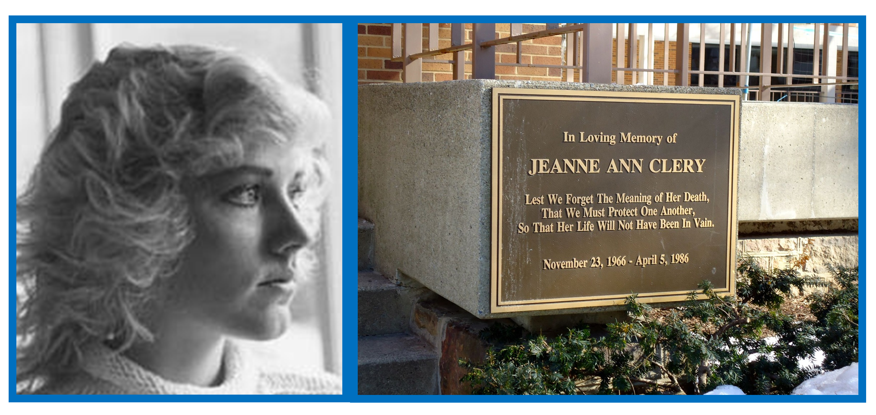 Photo of Jeanne Ann Clery and memorial marker.