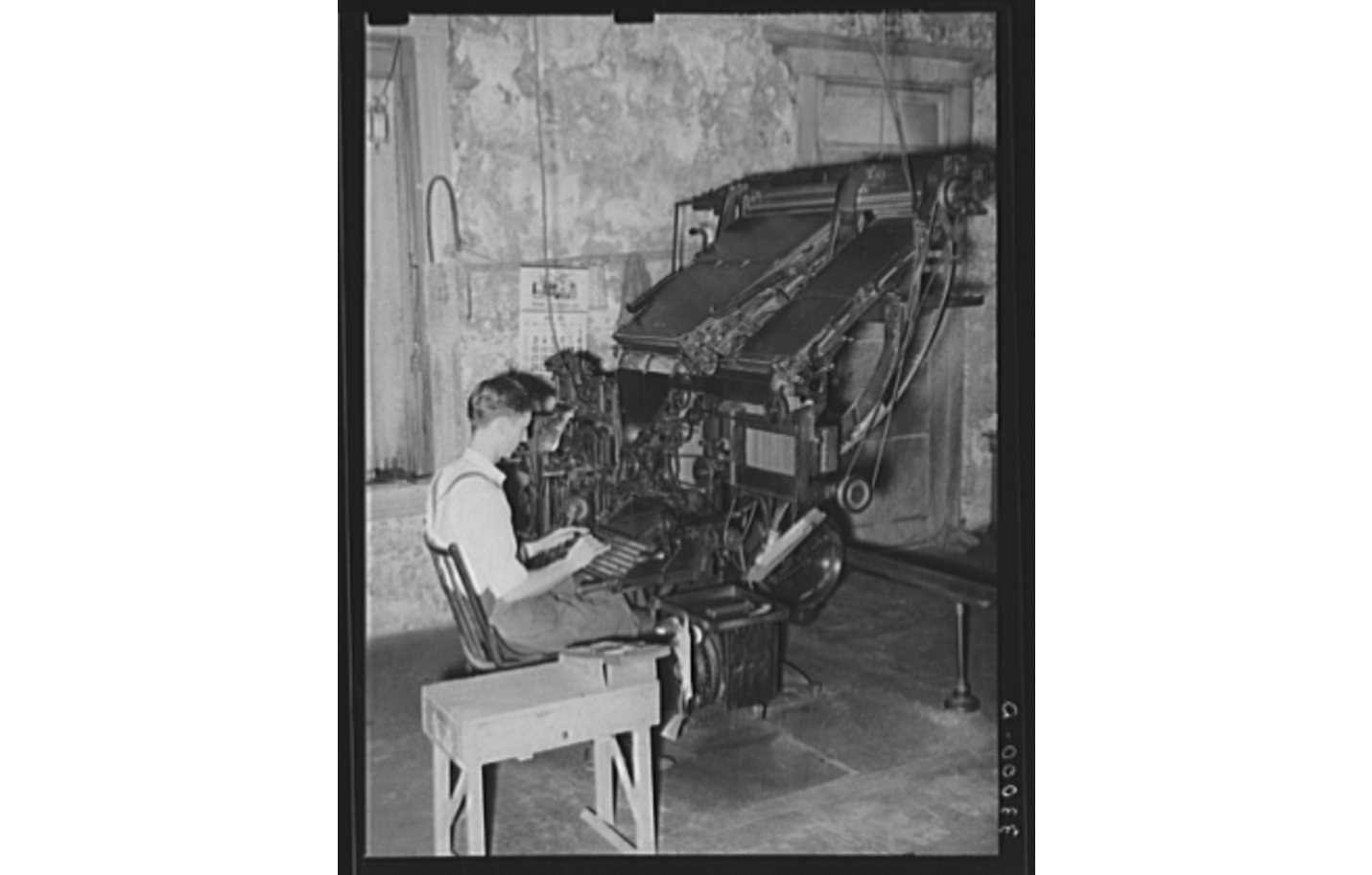 Photo of old linotype machine for printing newspapers.