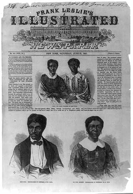 Newspaper illustrations of Mr. and Mrs. Dred Scott.