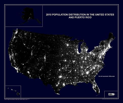 "The 2010 Population Distribution in the United States and Puerto Rico map (also referred to as the ""Nighttime Map""), portrays the distribution of population in the United States and Puerto Rico based on the results of the 2010 Census of Population and Housing. Two versions of this dot distribution map are available, a large format map and a small format map. On the large format or wall map version (which measures approximately 28 x 24 inches), each white dot represents 1,000 people. On the small format or page size version (which measures 11 x 8.5 inches), each white dot represents 7,500 people."