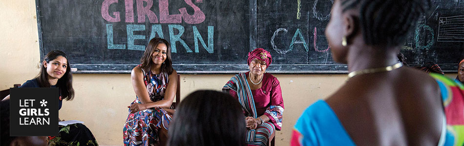 First Lady Michelle Obama participates in a roundtable discussion with President Ellen Johnson Sirleaf , Freida Pinto and students, in support of the Let Girls Learn initiative, at R.S. Caulfield Senior High School in Unification Town, Liberia, June 27, 2016. (Official White House Photo by Amanda Lucidon)