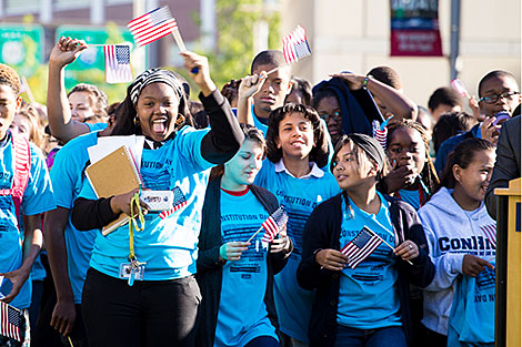 Photo of students celebrating Constitution Day
