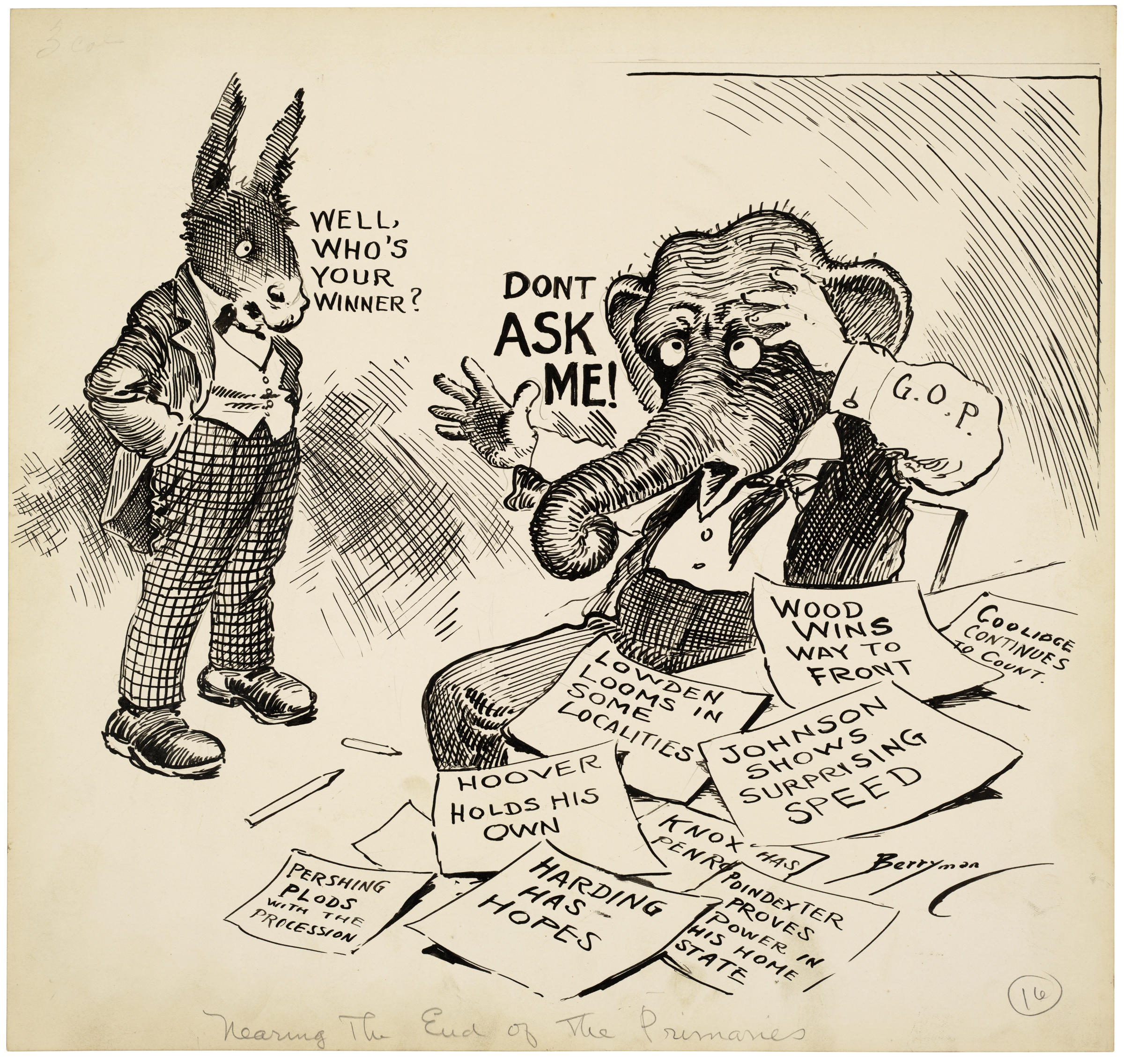 Political Cartoon from 1920 featuring the donkey and elephant.