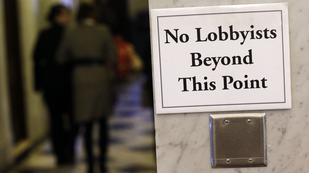 "Photo of sign ""No Lobbyists Beyond This Point"""