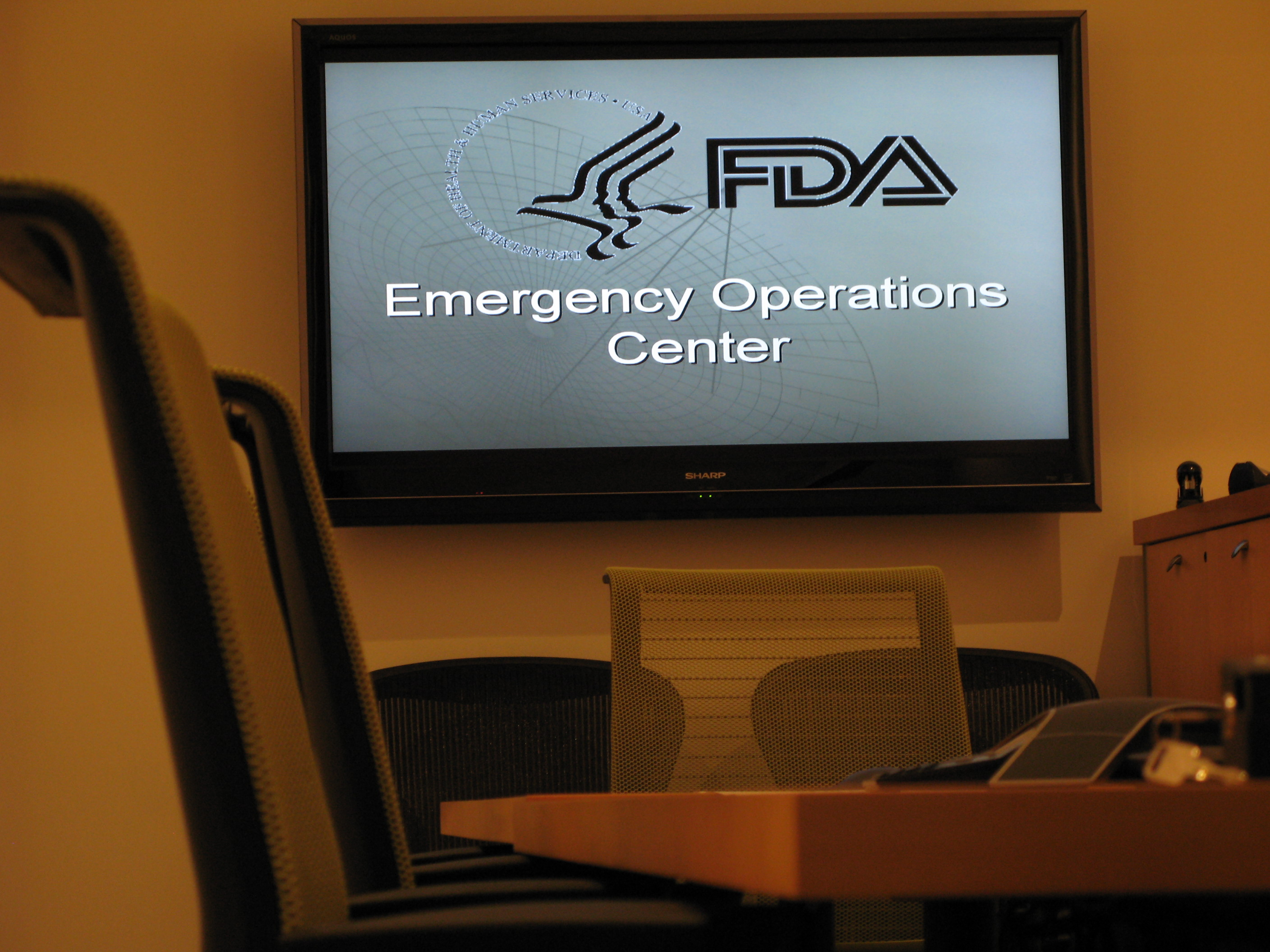 Photo of screen and chairs in the emergency operations center of the FDA