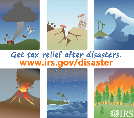 Poster from the IRS about getting tax relief after a disaster.