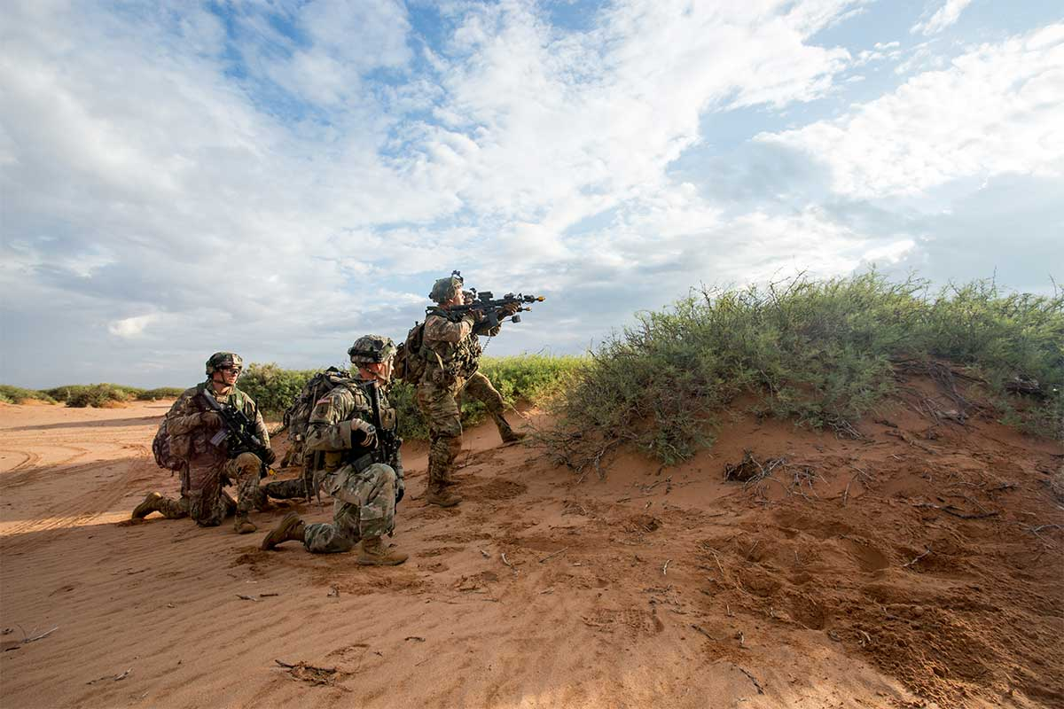 U.S. Soldiers of the 101st Airborne Division (Air Assault), participate in a simulated force-on-force training training exercise during the Network Integration Evaluation (NIE) 17.2 at Fort Bliss, Texas, July 15th, 2017. This annual exercise provides a test-bed for emerging concepts and capabilities in an operationally realistic and rigorous environment. (U.S. Army photo)