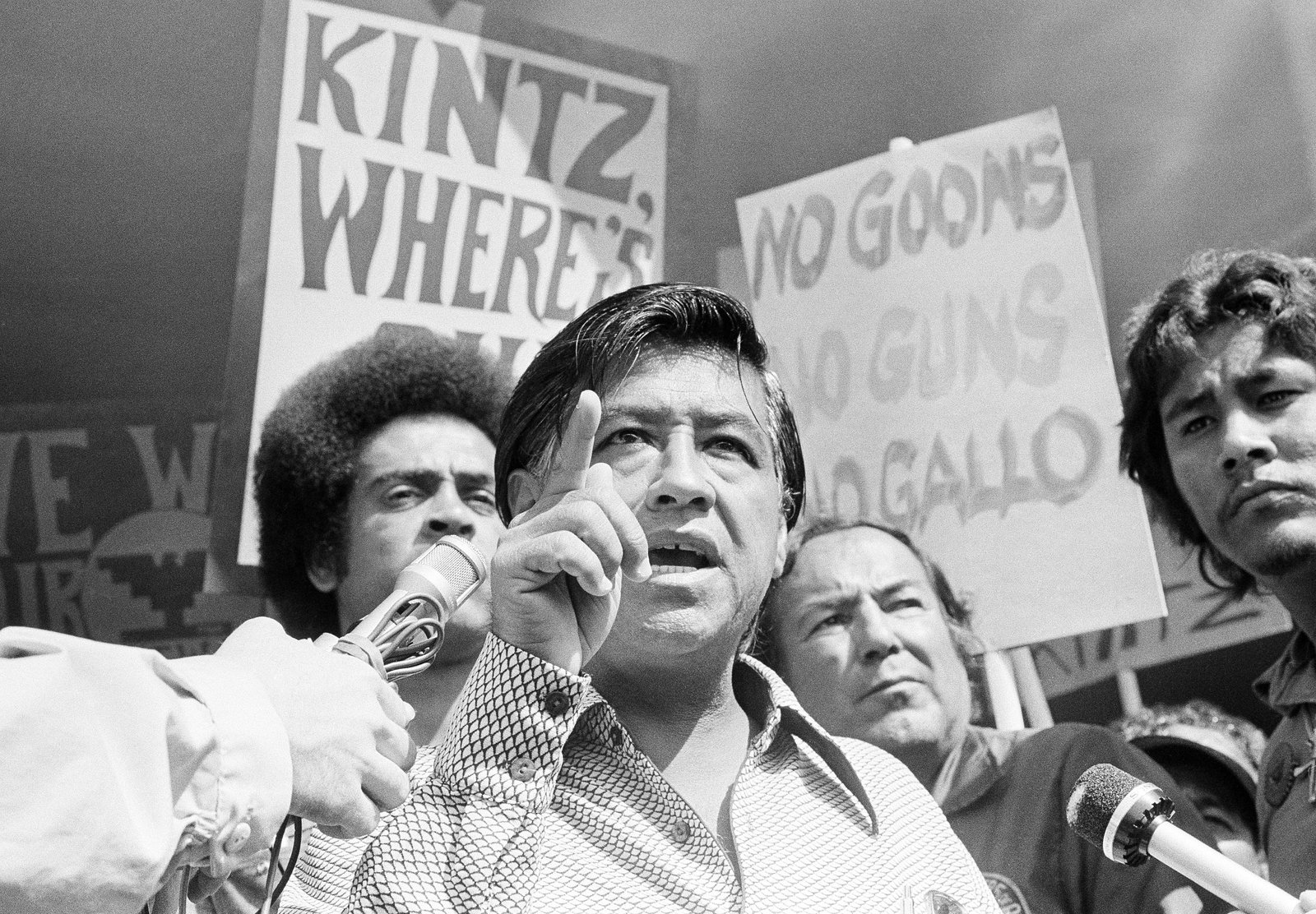 Cesar Chavez, the head of the United Farm Workers Union, calls for the resignation of Walter Kintz, the first legal counsel for the state Agriculture Labor Relations Board, in Sacramento, Calif., on Sept. 16, 1975. Chavez's efforts in California culminated in landmark legislation that protected the rights of the state's farmworkers and created the ALRB. AP