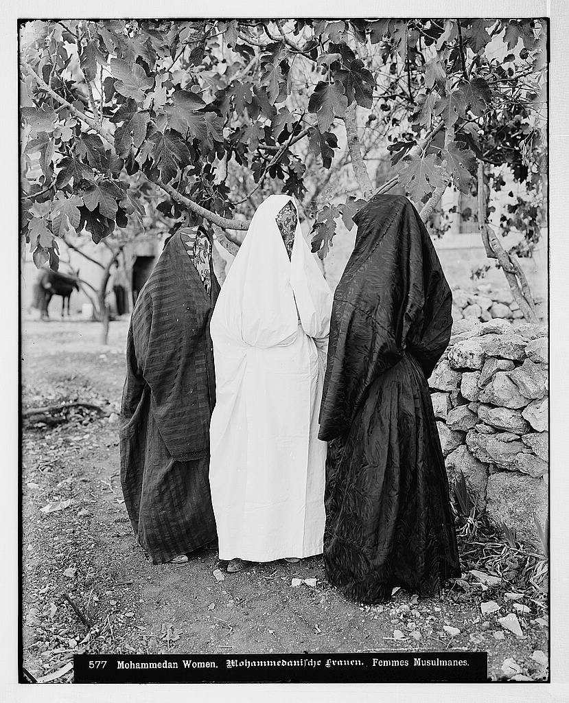 Veiled Muslim Women, 1898-1914. (Credit: Matson Photograph Collection, Library of Congress at https://www.loc.gov/item/mpc2004006830/PP).