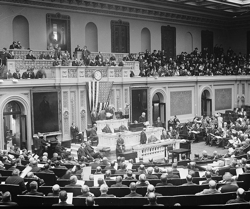Photo of counting electoral vote 1921, National Photo Company Collection, Library of Congress, no known restrictions on publication, at https://www.loc.gov/item/npc2007003393/