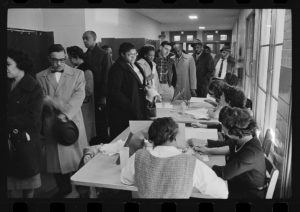Black and white people voting together, Warren K. Leffler, photographer, 6 November 1962, U.S. News & World Report magazine photograph collection, Library of Congress, no known restrictions on publication at https://www.loc.gov/item/2016646466/.